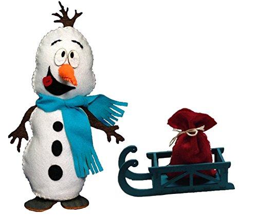 Petra's knutsel-News naai sneeuwpop met slee en zakje incl. vilten en houten onderdelen, lint vulwatten en stopnaald knutselset, hout, meerkleurig 25 x 18 x 5 cm