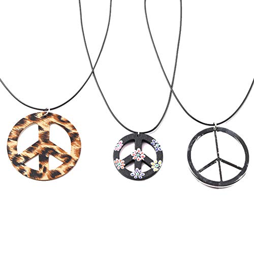 COLORFUL BLING 3 Pieces Hippie Style Anti-war Pendant Love Peace Sign Symbol Necklace Mens 1960s 1970s Party Jewelry A