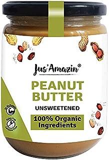Jus' Amazin Creamy Organic Peanut Butter All Natural - Unsweetened (500g) | 100% Organic Ingredients, Vegan, Gluten Free &...