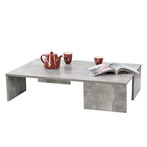 [en.casa] Tavolino da caffè/da Divano 21 x 90 x 60 cm Tavolo Basso da Salotto/Soggiorno in Forma Rettangolare Struttura Semplice e Moderna - Effetto Cemento