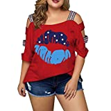 YOCheerful Women Plus Size Tops Casual Print Off Shoulder Tops July 4th T-Shirts Loose Flowy Tops(Red, 3XL)