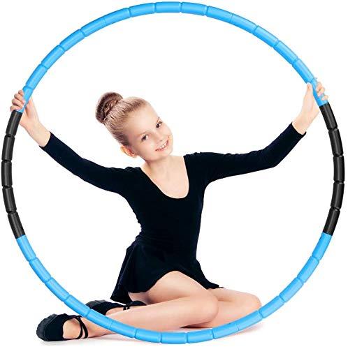 E-More Reifen Hula zur Gewichtsreduktion, Gymnastik Kreis Einstellbares Gewicht Gewichten beschwerter Fitness Hoop Reifen für Fitness, 2 Farben erhältlich (Schwarz & Blau)