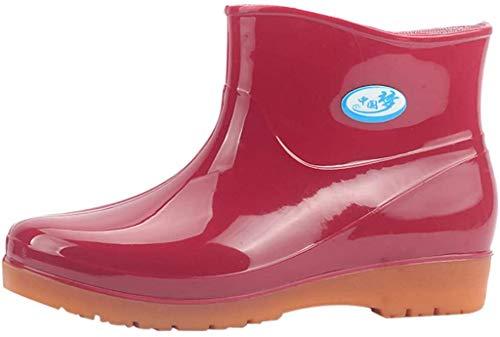 Damen Kurze Gummistiefel Flache Regenstiefel Kurzschaft Stiefel Bequeme Regenschuhe Schlupfstiefel wasserdichte Gummistiefeletten Celucke (Rot, 41 EU)