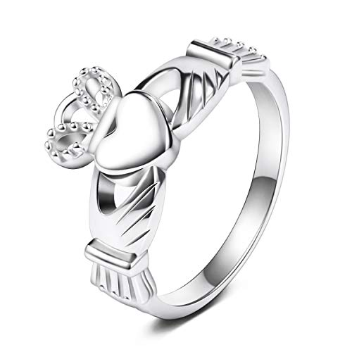 SOMEN TUNGSTEN 925 Sterling Silver Women's Claddagh Ring Love Heart Celtic Knot Crown Engagement Wedding Band 6