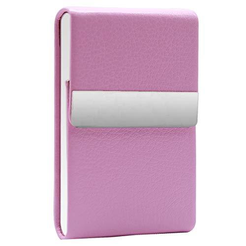 Zigarettenetui Metall Zigaretten Kasten PU Leder Magnetisierte Deckel Zigarettenschachtel Box für Männer Frauen Damen Super Slim Elegante Entwurf Rosa