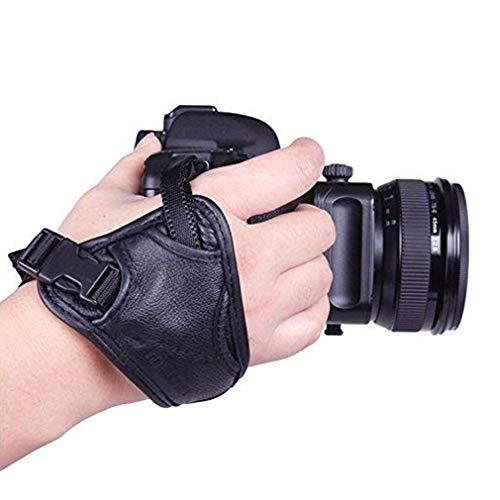 EQLEF® Cuoio Hand Grip Tracolla Imbottita Polso e Grip per SLR/Fotocamere DSLR
