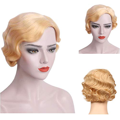 Baruisi Blonde Short Curly 1920s Nuna Wig for Women Synthetic Finger Wave Pixie Wig