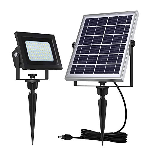 UPONUN Solar Flood Lights Outdoor 60LED IP67 Waterproof Auto ON Off Solar Powered LED Flood Light for Shed Yard Pool Pathway Barn Sign Flagpole