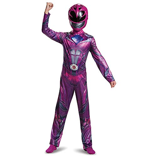 Disguise Pink Power Ranger Movie Costume Large 10-12 – Kids Power Rangers Pink Ranger Costume – Vibrant Pink and Silver Jumpsuit and Half-Mask – Easy Sizing and True to Size! (19035G)