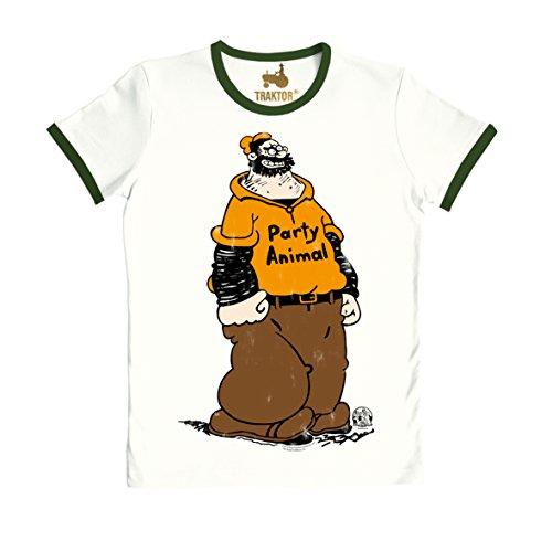 TRAKTOR Camiseta Bluto - Farrista - Camiseta de Popeye el Marino - Brutus - Party Animal - Camiseta con Cuello Redondo de la Marca Blanco como la Leche - Diseño Original con Licencia, Talla XL