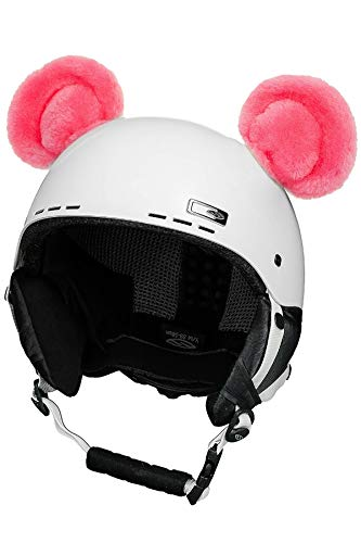 Crazy Ears Helm-Accessoires Biene Teddy Maus Katze. Ski-Ohren geeignet für Skihelm Motorradhelm Fahrradhelm und vieles mehr. Helm Dekoration für Kinder und Erwachsene, CrazyEars:Pinker Bär