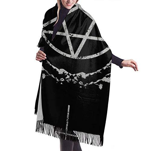 Gótico oculto Satanás Penta símbolo calavera cachemir gran mantón invierno grueso cálido bufanda abrigo chal
