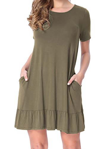 LAINAB Womens Summer Knit Solid O Neck Loose Swing Casual Dress Army Green M