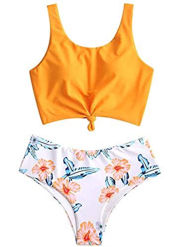 CheChury Mujeres Cintura Alta Bikini Trajes Push Up Pliegues Control de La Barriga Enroscadura Frontal Bañador Retro Variedad de Impresión Ropa de Playa