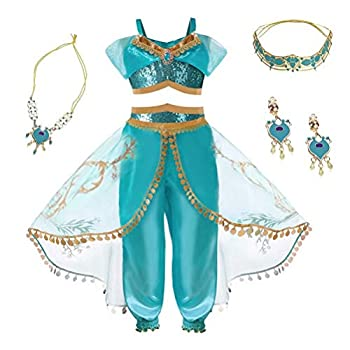 Girls Princess Costume Dress - Halloween Party Arabian Cosplay Teal & Gold Outfit for Kid Child Teen