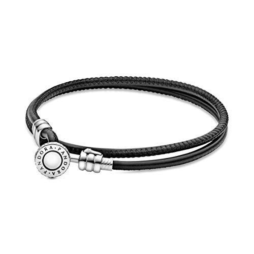 Pandora Damen Double Leder Armband 925 Sterlingsilber Cubic Zirkonia 597194CBK-D1