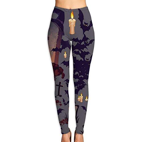 AAAshorts Halloween patrón con tumbas, murciélagos mujer impreso yoga pantalones de cintura alta entrenamiento Leggings