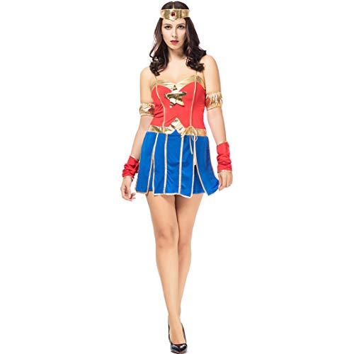Halloween Kleider, Superman Cosplay Sexy Kostüm Wonder Woman America Captain Superman Damen Erwachsene Weihnachtsshow Kleidung,Blue,XL