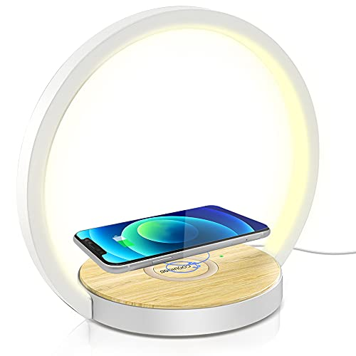 Nachttischlampe Touch Dimmbar, COOLHOOD Nachttischlampe mit Ladefunktion Tischlampe Klein Holz mit 3 stufige Helligkeit 10W LED Nachtischlampe für Schlafzimmer, Warmes Weißes