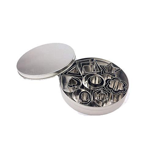 YAKAiYAL Mini Juego de Moldes Geométricos para Galletas Cortador de Galletas de Acero Inoxidable Molde para Pasteles Herramientas para Hornear DIY para Pasteles Galletas moldes 24 Piezas