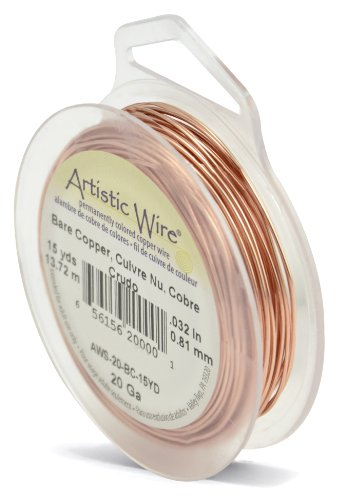 Beadalon Artistic, 20 Gauge Craft Wire, Bare Copper, 15 yd (13.7 m) Basteldraht, Blankes Kupfer, 1 Pack