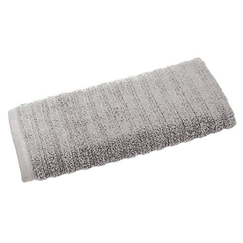 Price comparison product image iDesign Hand Towel,  Small Ribbed Cotton Hair Towel,  Soft Face Cloth for the Face and Hands or for the Shower and Bath,  Grey