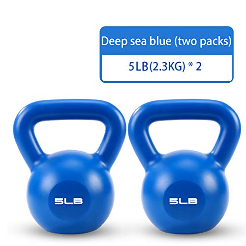 Fitness Kettlebell,Kettlebell Weights Deluxe Cast Iron Vinyl Coated Comfort Grip Wide Handle Color Coded Kettlebell Weight Set