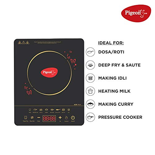 Pigeon By Stovekraft ABS Plastic Acer Plus Induction Cooktop 1800 Watts With Feather Touch Control - Black