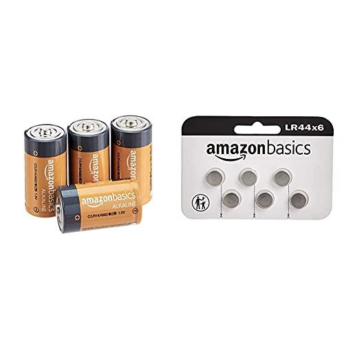 Amazon Basics Juego de 6 Pilas de botón alcalinas LR44+ Pilas alcalinas C, de 1,5 voltios, Gama Everyday, Paquete de 4 (el Aspecto Puede Variar)
