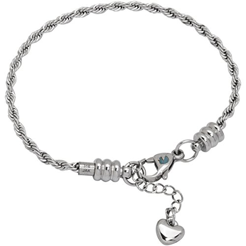 European Charm Bracelet for Women and Girls Bead Charms, Stainless Steel Rope Chain, Claw 7.5 Inch