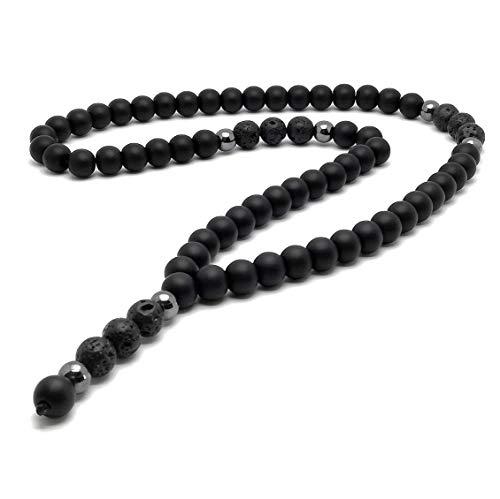 Collana pietra semipreziosa onice pietra lavica ematite rosario catena Y perline 10mm 8mm nero pietra naturale da uomo/ALLA
