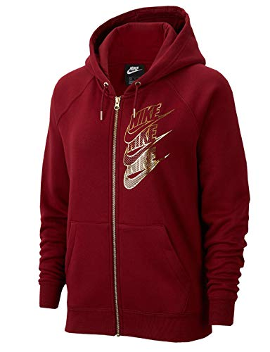 Nike NSW Full Zip BB Shine Hoodie, Blazer Donna, Rosso (Team Red/Team Red/Metallic Gol), Medium