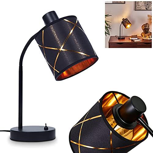 Opatija - Lámpara de mesa (1 foco, metal negro y cobre con interruptor, pantalla de tela...