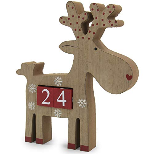 SSITG Adventskalender Rentier Holz 22 cm zum Stellen Advent