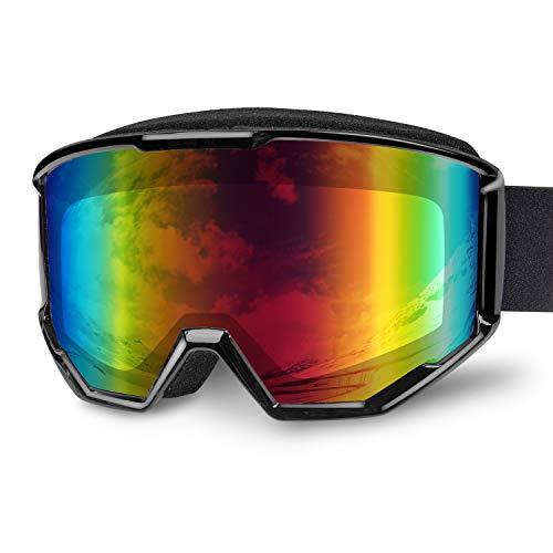 Fenvella Occhiali da Sci, Maschere da Sci Snowboard, Occhiali da Sci OTG Anti-Appannamento Anti-UV400 a Doppia Lente, Occhiali da Sci da Uomo per Donna per Adulto (Adulti, Black (VLT14%))