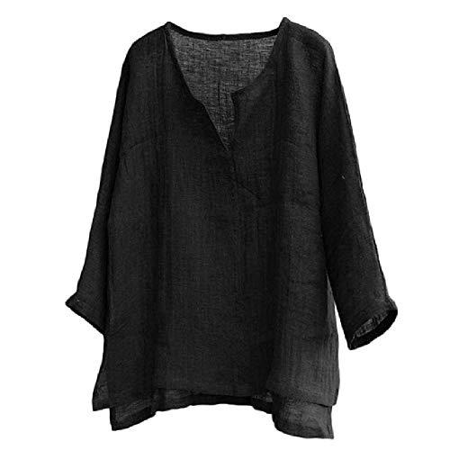 Verano de los hombres de color sólido algodón cáñamo superior cómoda blusa de manga larga ropa