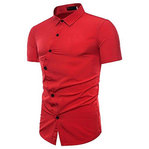 ZYooh Premium High Collar Men's Short Shirt Sleeves Tee,Fashion Button Stand-up Slim Fit Casual Irregular Dress Shirt Blouse (L2, red)