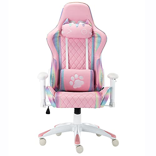 HEAH-YO Pink Gaming Chair with Cute Cat Headrest and Lumbar Support Ergonomic Comfortable Computer Desk Chair for Adults and Kids, Rainbow, White Base