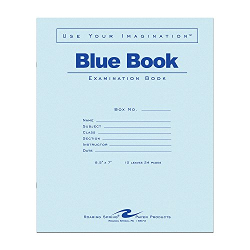 Roaring Spring Test Blue Exam Book, 50 Pack, Wide Ruled with Margin, 8.5