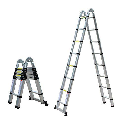 Escalera telescópica de 5 m, extensible, de aluminio, multiusos, plegable, soporta hasta...