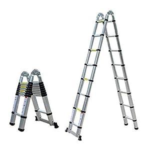5m Escalera telescópica–Escalera extensible Escalera escalera de aluminio multiusos Escalera escalera multifunción Escalera de aluminio–Escalera de aluminio telescópica (Soporta hasta 150kg)
