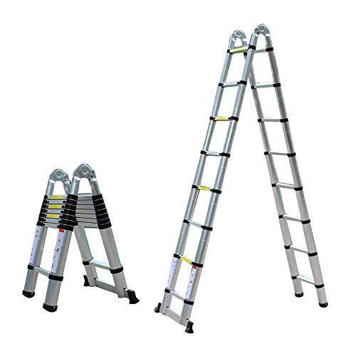 Escalera telescópica de 5 m, extensible, de aluminio, multiusos, plegable, soporta hasta 150 kg