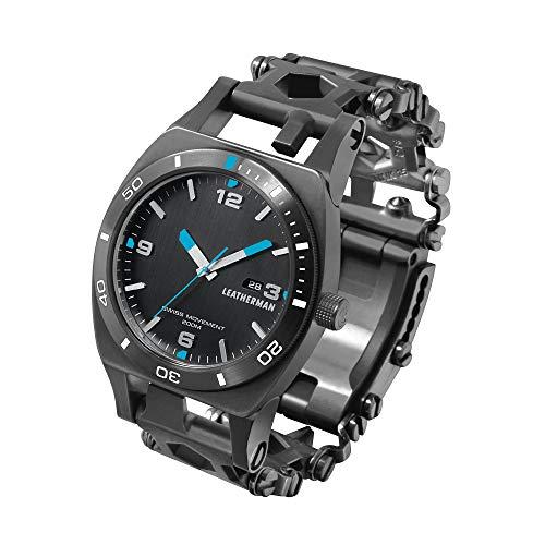 LEATHERMAN - Tread Tempo, Reloj y brazalete multiusos con 29 herramientas como destornilladores, llaves hexagonales y llaves inglesas, para el bricolaje, hecha en EE.UU., en negro, acero inoxidable