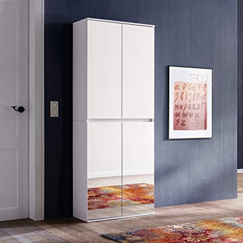 trendteam smart living Garderobe Garderobenschrank Schrank Mirror, 74 x 191 x 34 cm in Korpus und Front Weiß Melamin Absetzung Spiegel mit viel Stauraum