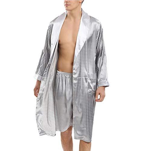 Camisones para Hombres Albornoz de Satén Kimono Mangas Largas Y Manto Ligero,Bata de Dormir de 2 Piezas,Plata,Small