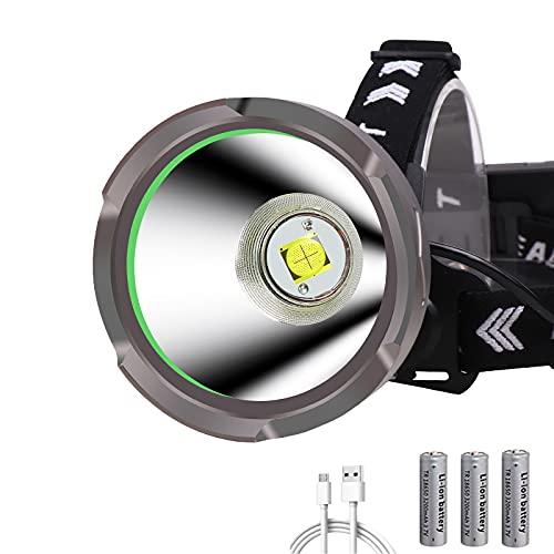 Faretto Lampada Frontale LED Ricaricabile, WESLITE Lampada da Testa ad Alta Potenza 15000 Lumen Torcia Frontale Potentissima XHP90.2 Frontale LED Lunga Distanza per Esterni, Riparazione Auto (Grande)