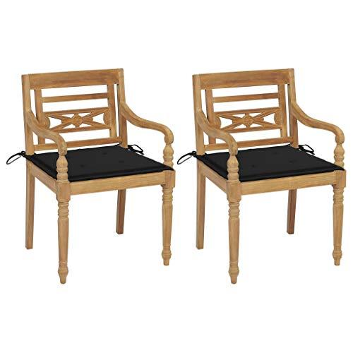 vidaXL 2X Teak Massiv Batavia Stuhl mit Schwarzen Kissen Gartenstühle Gartenstuhl Gartensessel Stühle Gartenmöbel Sessel Essstuhl Terrasse Garten
