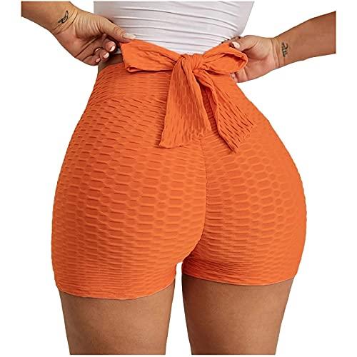 WANGSHE Yoga-Shorts mit hoher Taille für Damen, Bauchkontrolle, Fitness, Athletik, Workout, Lauf-Shorts, sexy Fliege, dehnbare Leggings, Orange, XL