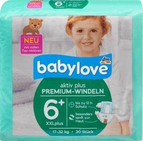 babylove Windeln Premium aktiv plus Größe 6+, XXLplus 17-32kg, 1 x 30 St