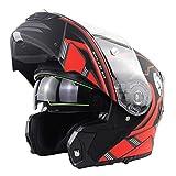Cascos Modulares De Moto Mujer Hombre DOT ECE Homologado Casco Abierto Moto Con Doble Visera Anti Niebla Gran Angular, Revestimiento Reflectante Casco Integral Moto Flip Up C,XXXXL